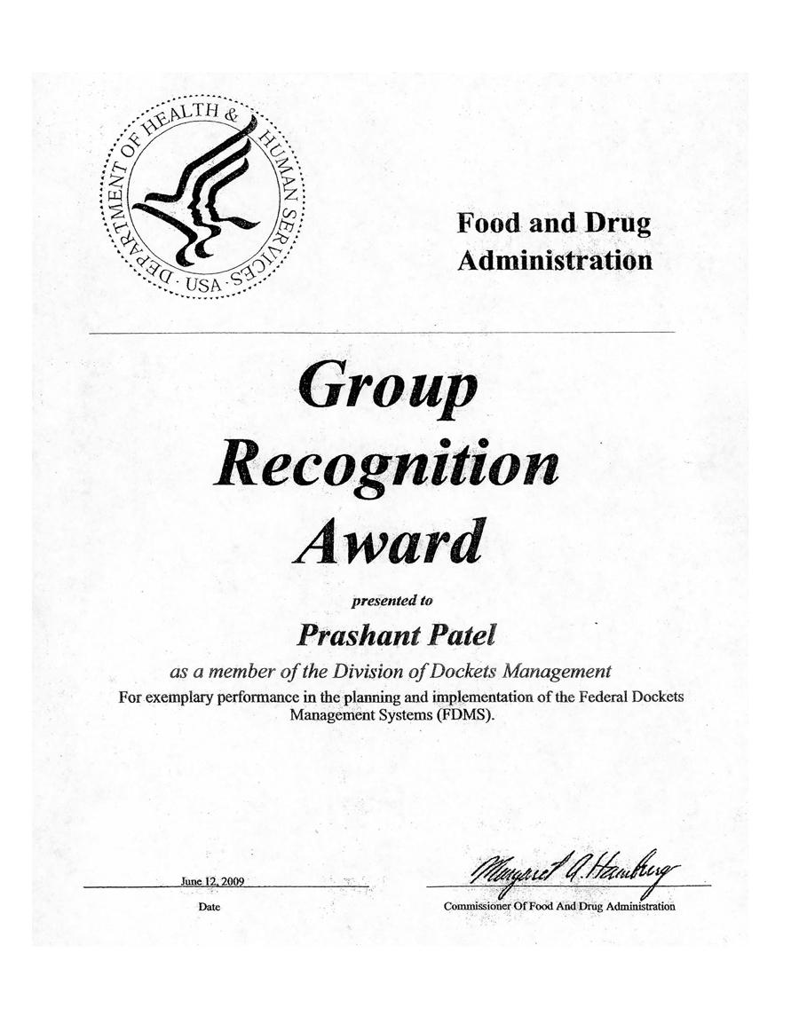 FDA Group Recognition