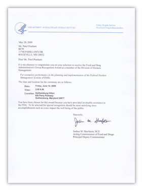 Dept Health Human Services Letter