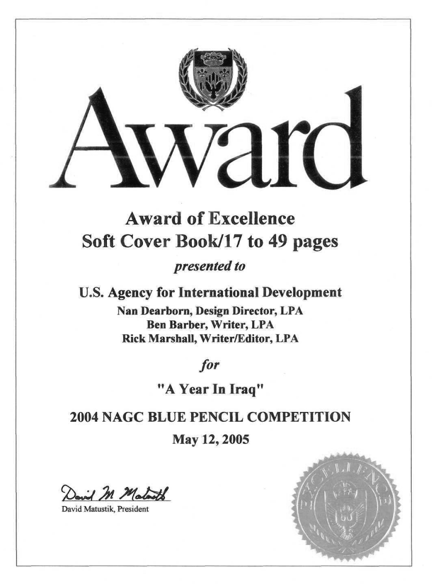 Award of Excellence for a Year in iraq