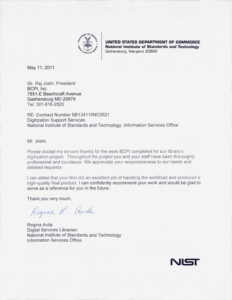 NIST United States Department of Commerce Letter